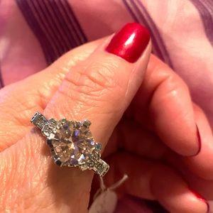 Light Pink Princess Cut Statement Ring Size 9